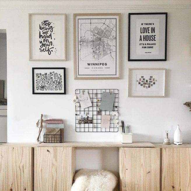 classic mapiful in modern, winter gallery wall